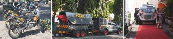 PENGAWALAN LENGKAP Motor trail Sabhara, Mobile Security Barrier dan Mobil Taktis yang mesinnya menyala selama acara